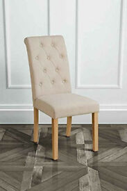 2x Upholstered buttoned Dining chairs