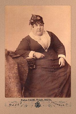 MADAM NAOMI 1890 Circus Fat Lady 562 lbs Vintage Photograph A+ Cabinet Card