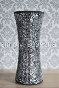 STUNNING LARGE BLACK AND SILVER LUXURY SPARKLING CRACKLE MOSAIC GLASS VASE