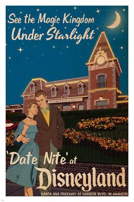 date night AT DISNEYLAND vintage poster 24X36 MAGIC KINGDOM by starlight (Magic Vintage Poster)