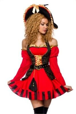 Atixo edles Piraten Kostüm Kleid, Weste, Gürtel, Armstulpen, Säckchen, Hut