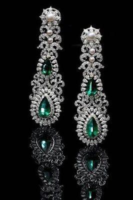 (13ct Green Pear Pearl Dangle Earring 925 Sterling Silver Wedding Jewelry Gift)