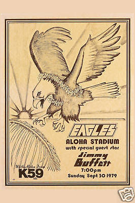Don Henley &  The Eagles with  Jimmy Buffett  in Hawaii Concert Poster 1979