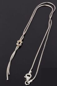 Sterling Silver Omega Necklace chain link knot