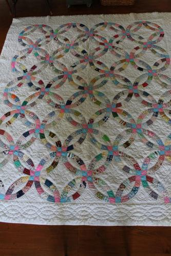 Vintage Double Wedding Ring Quilt Ebay