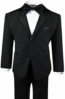 Baby Boy BLACK Suit/Tuxedo Wedding PARTY FORMAL NO TAIL Outfit Size S to 7