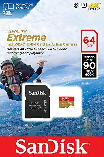 Extreme 64GB Micro SD SanDisk SDHC Memory Card Action Dash Camera 90MB/s GoPro