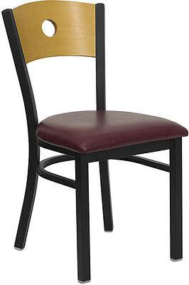 Black Circle Back Metal Restaurant Chair - Natural Wood Backburgundy Vinyl Seat