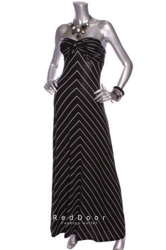 New Black And White Striped Maxi Dress Ebay