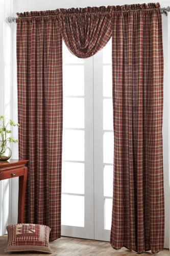 Red Plaid Curtains Ebay