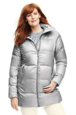 $149 NWT LANDS END WOMENS LIGHTWEIGHT DOWN A-LINE SILVER COAT JACKET SMALL S
