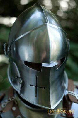 18GA Medieval Barbuta Helmet /Great Knight Templar REPLICA FUNCTIONAL - Knight Helmets