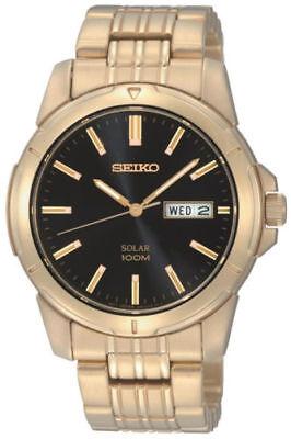 Seiko Solar SNE100 Black Dial Gold-Tone Stainless Steel Men's Watch