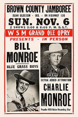 Country: Bill Monroe & Charlie Monroe Concert Poster 1955