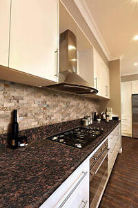 "New granite countertop, 96""x25-9/16"", with 4"" back splash"