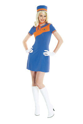Retro Stewardress Blue and Orange Halloween Costume - Orange Halloween Costumes