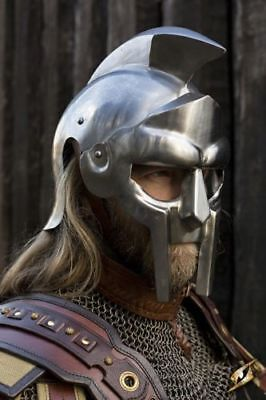 (Wearable Gladiator Maximus Roman Steel Helmet With Inner Liner Reproduction Helm)