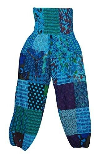 4c9a99293d4363 Women's Harem Pant Blue Patchwork High Waist Hippie Boho Yoga ...