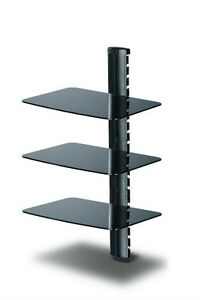 TC - 3-Shelves DVD Stand with Black Color Glass