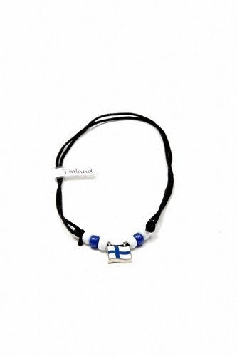 FINLAND  COUNTRY FLAG SMALL METAL NECKLACE CHOKER .. NEW