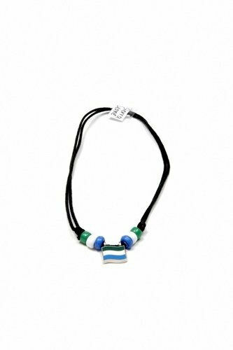 SIERRA LEONE COUNTRY FLAG SMALL METAL NECKLACE CHOKER .. NEW