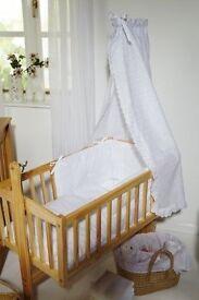 Clair de Lune Broderie Anglaise 4pc Crib Bedding Set