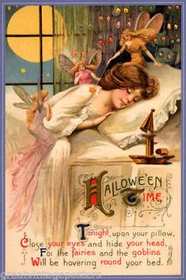 Set of FOUR 3x5 Halloween Dreams Vintage Illustration Quilt & Fabric - Vintage Halloween Quilting Fabric