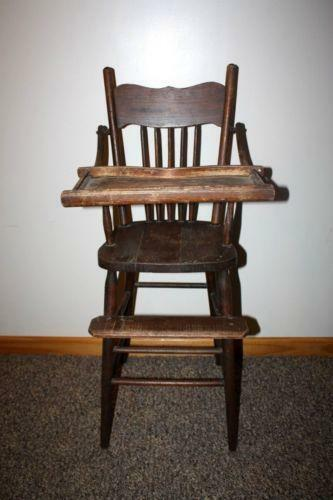 Vintage Wood Baby High Chair EBay