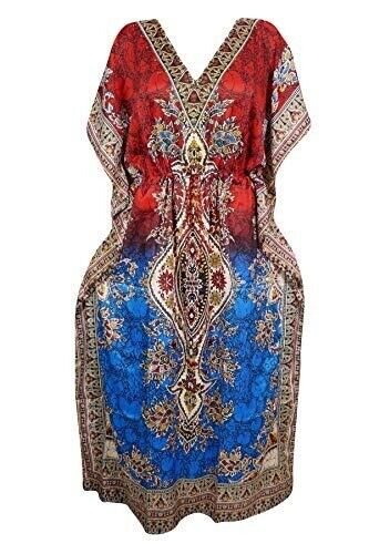 47e402f201934 Women Caftan Dress Red Printed Viscose Kimono Kaftan Cover Up ...
