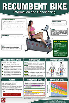 RECUMBENT BIKE Stationary Cycle Professional Fitness Gym Wall Chart Poster for sale  Shipping to India