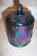 Blue Carnival Glass Canister