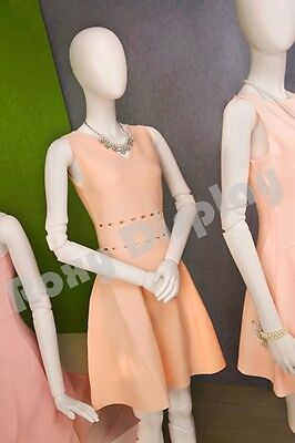Female Fiberglass Matte White Mannequin Egg Head Fake Joints Mz-abegw1