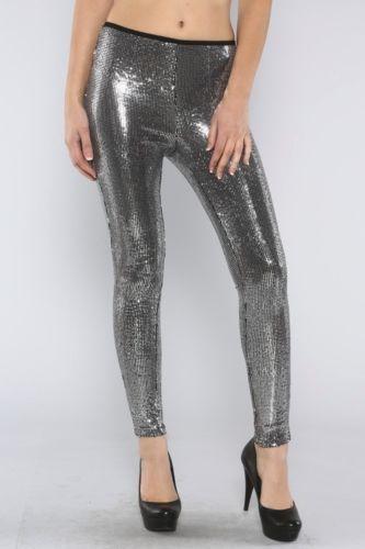 Silver Sequin Leggings   eBay