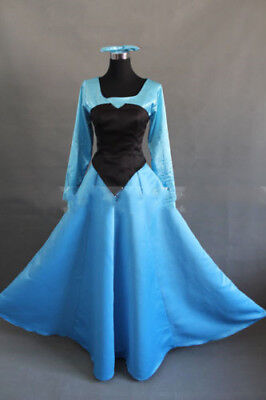 The Little Mermaid Princess Ariel Blue Dress Cosplay Costume For Halloween#MM''Y