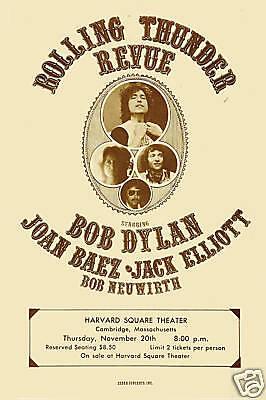 Folk Rock  Rolling Thunder Revue   Bob Dylan   Others   Concert Poster 1975