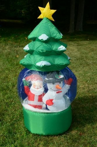 5' Snowflake/ Rotating Christmas Tree Outdoor Lighted Inflatable Santa
