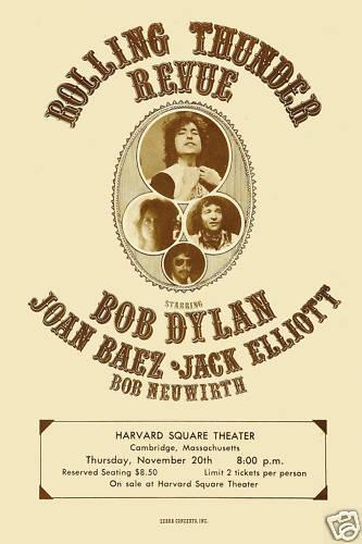 Bob Dylan at Rolling Thunder Revue Concert Poster 1975  12x18