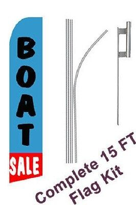 Boat Sale Tall Advertising Banner Flag Complete Sign Kit 2.5 Feet Wide