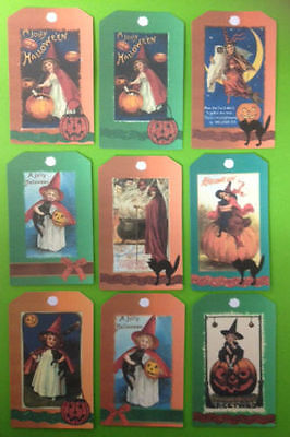 9 VINTAGE STYLE WITCH HALLOWEEN TAG CARD MAKING CRAFT EMBELLISHMENTS