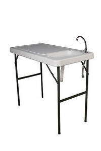 Multi Purpose Folding Table Work Station Sink Faucet Camp Meat Fish Cleaning NEW