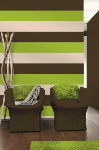 Lime green patterned wallpaper ebay for Green and brown living room walls
