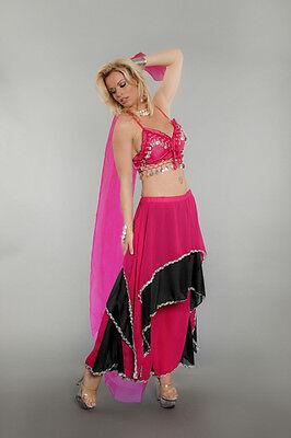 Lady BELLY DANCER Costume w/ Veil Sexy Harem Girl Genie Adult Small Medium 4 6 8 - Adult Belly Dancer Costume