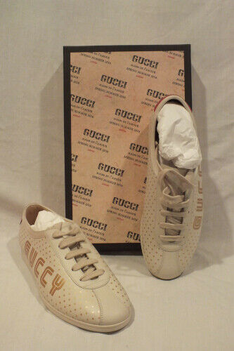 NIB AUTH GUCCI women IVORY Leather SNEAKERS shoes GUCCY Lace up IT 38.5  8.5 US 1