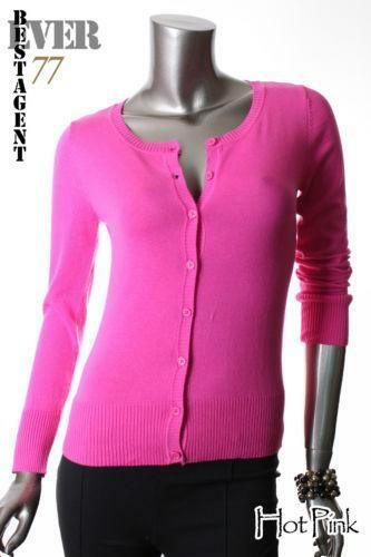 Womens Hot Pink Cardigan Sweater - Gray Cardigan Sweater