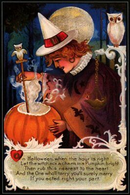Pumpkin Halloween Cooking (WITCH COOKING PUMPKIN OWL HALLOWEEN VINTAGE POSTER)