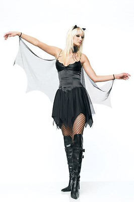 Leg Avenue 2 Piece Stretch Satin Mesh Bat Costume 83057 Vampire Complete Outfit (Female Vampire Outfit)