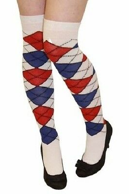 Women's Over The Knee Argyle Socks Golf Check Diamond White Blue Red Fancy - Women's Golf Kostüm