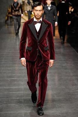 Velvet Custom Made New Arrival Mens Wedding Suits Groom Tuxedos Formal Suits ](Velvet Mens Suits)