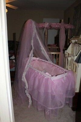 Antique collectable wrought iron wood pink bassinet custom bedding and mattress