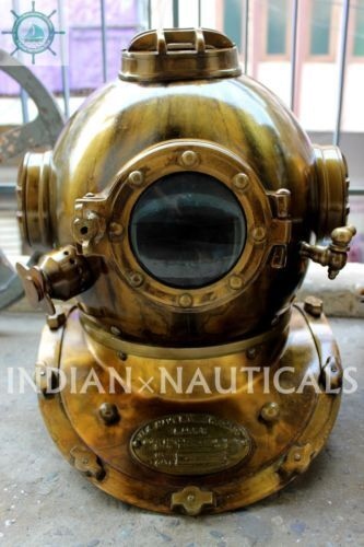 ANTIQUE BOSTON MASS US NAVY MARK V DIVING DIVERS HELMET SOLID STEEL ANTIQUE